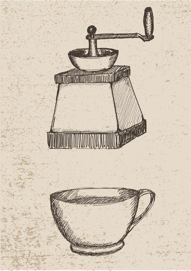 Rectifieuse de café et cuvette de coffe illustration libre de droits
