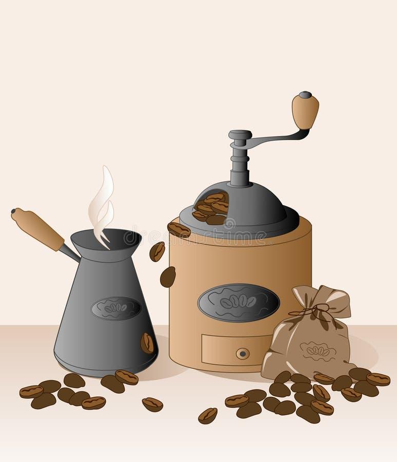 Rectifieuse de café et grains de café illustration libre de droits