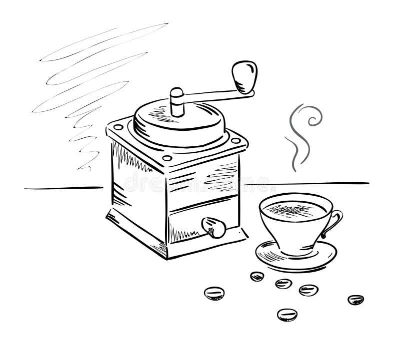 Rectifieuse de café et une cuvette de café illustration stock