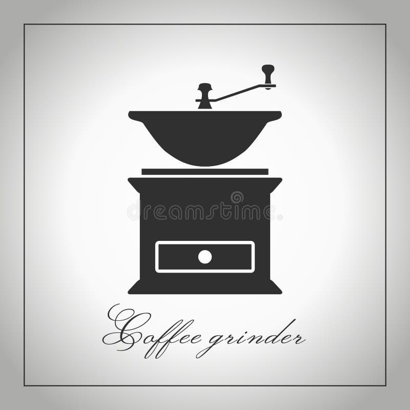 Rectifieuse de café Silhouette de moulin à café Icône d'équipement de cuisine Accessoires de café Illustration d'isolement Vecteu illustration libre de droits