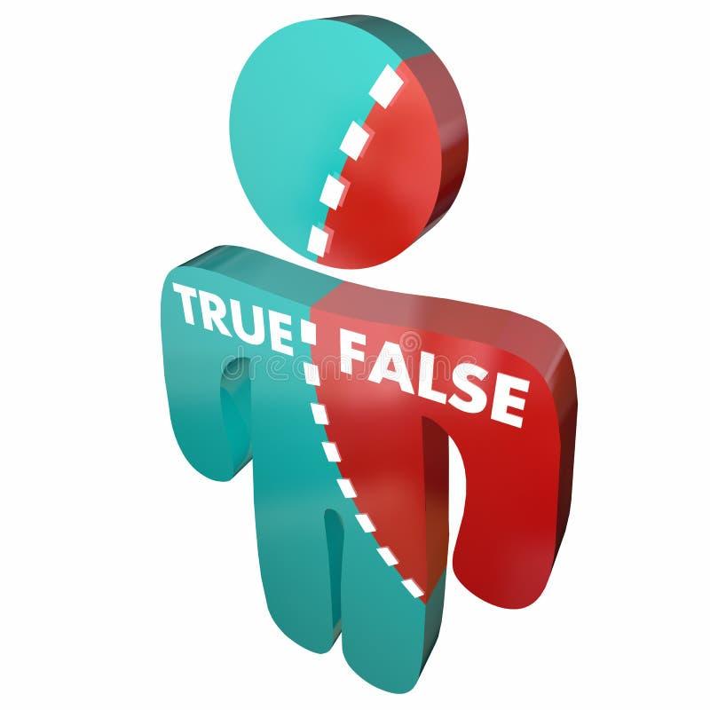 Rectifiez contre Person Accurate Correct faux droit faux illustration de vecteur