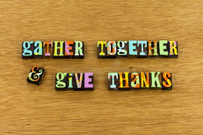 Recueillez ensemble pour donner la typographie de joie de mercis photo stock