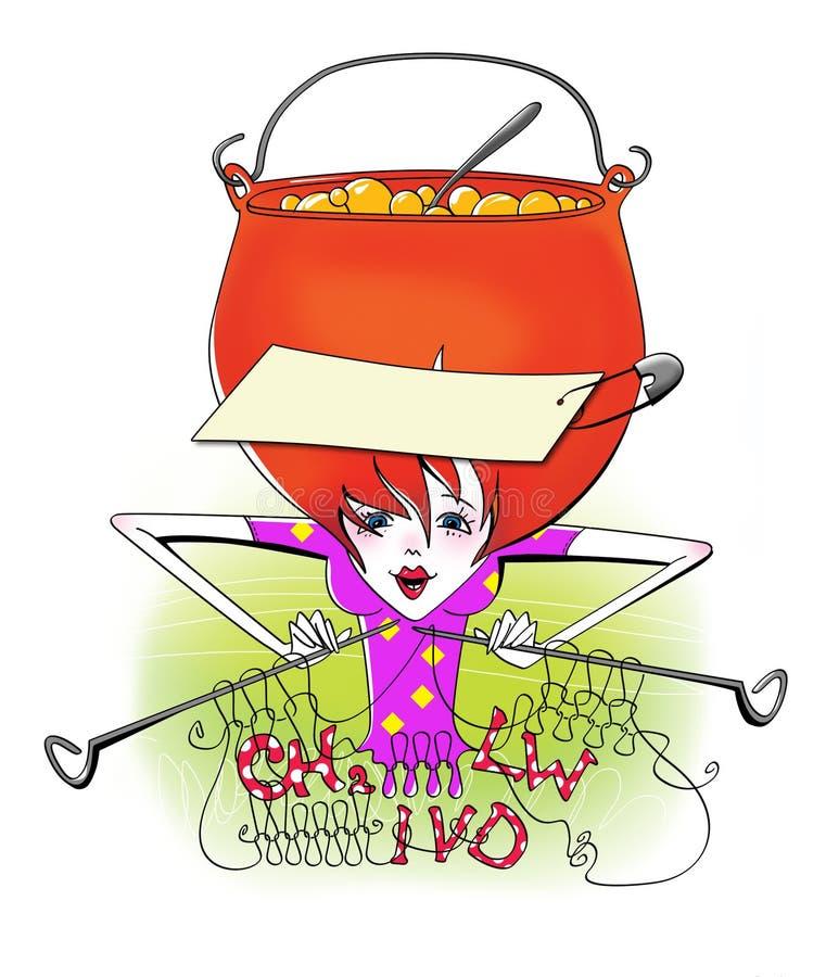Recuerde todos La muchacha con su cabeza en un pote, que cocina las gachas de avena, hace punto en las agujas y consigue f?rmulas ilustración del vector