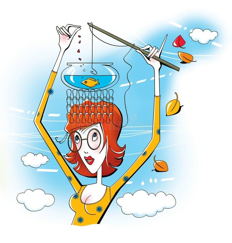Recuerde todos La mujer joven con los vidrios coge pescados de la caña de pescar en el acuario, que se coloca en su cabeza ilustración del vector