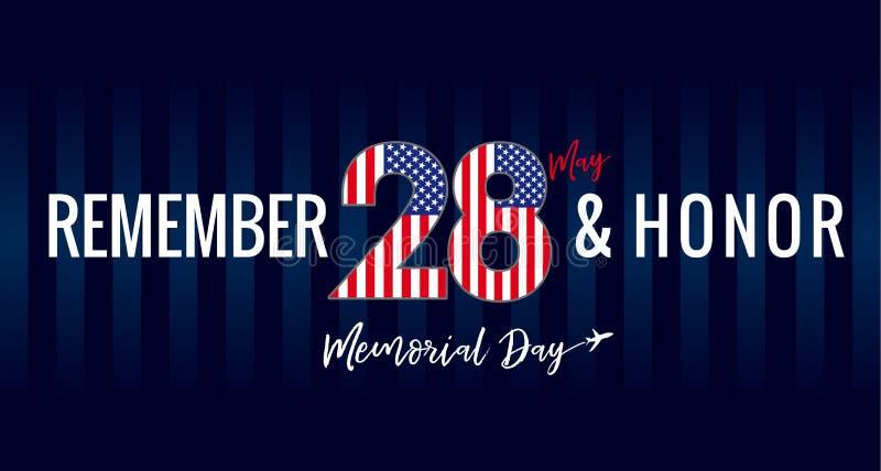 Recuerde y honor, Memorial Day los E.E.U.U. 28 puede cartel de las rayas de azules marinos stock de ilustración