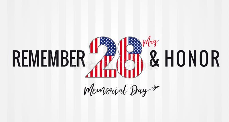 Recuerde y honor, Memorial Day los E.E.U.U. 28 puede encender el cartel de las rayas libre illustration
