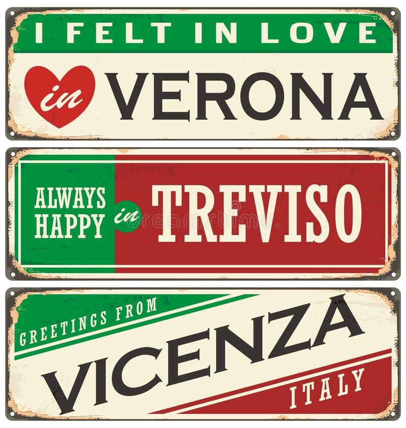 Recuerdos del vintage o plantillas de la postal con los lugares en Italia ilustración del vector