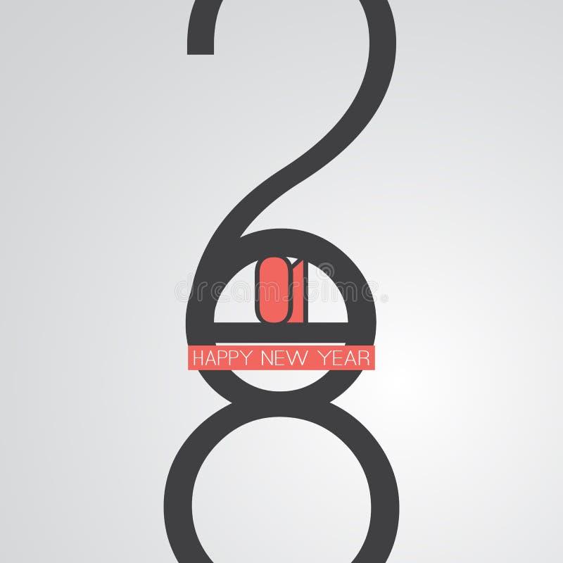 Recuerdos - tarjeta de felicitación de la Feliz Año Nuevo del estilo o fondo retra divertida, plantilla creativa del diseño - 201 libre illustration