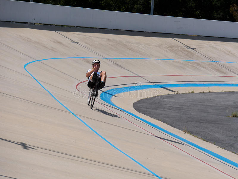 Recumbent bike on the bike track in competition. On a velodrome near San Jose royalty free stock photography