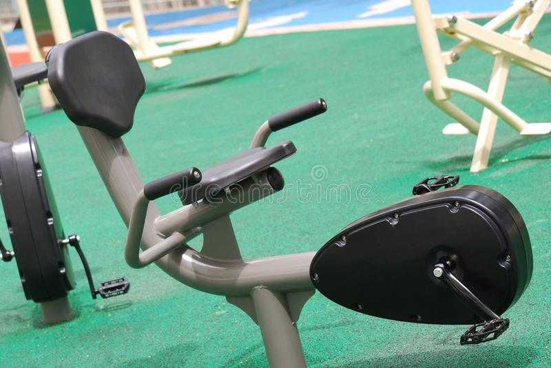 Recumbent Cycle. A photo taken on a recumbent cycle at a park for exercising royalty free stock photography