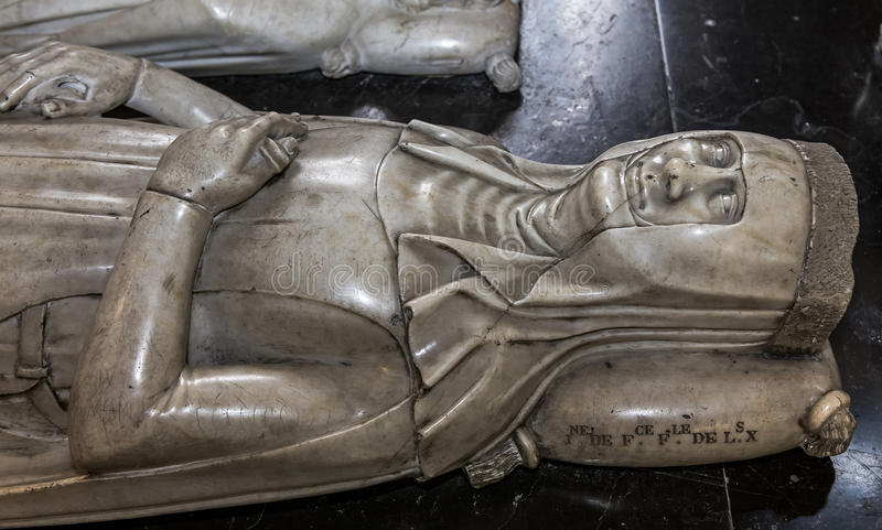 Recumbent statue in basilica of saint-denis, France. Recumbent statue of basilica of saint-denis, necropolis of french monarchs, February, 12, 2015 in Saint stock images