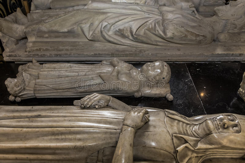 Recumbent statue in basilica of saint-denis, France. Recumbent statue of basilica of saint-denis, necropolis of french monarchs, February, 12, 2015 in Saint stock photos