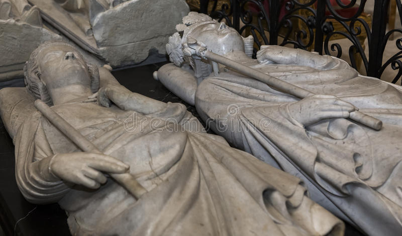 Recumbent statue in basilica of saint-denis, France. Recumbent statue of basilica of saint-denis, necropolis of french monarchs, February, 12, 2015 in Saint stock photography