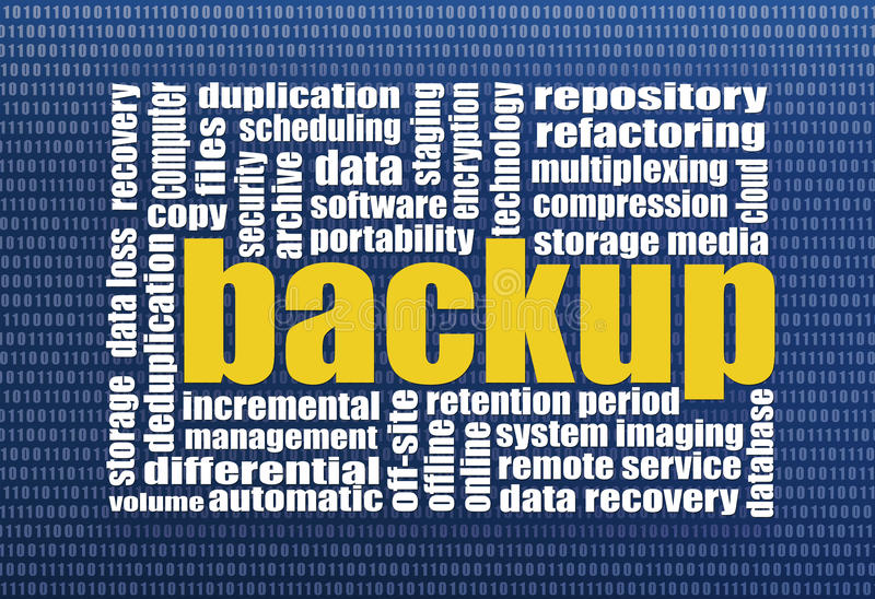 Recuperação do backup e dos dados ilustração stock