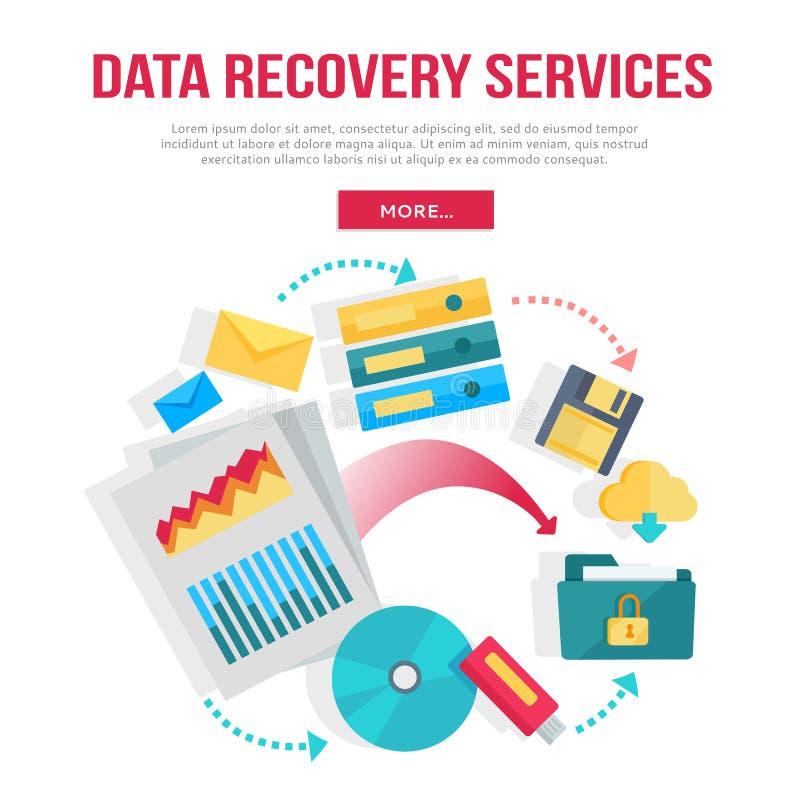 A recuperação dos dados presta serviços de manutenção à bandeira ilustração royalty free