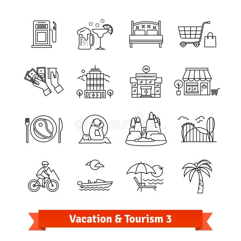 Recuperación del turismo y de las vacaciones Línea fina iconos fijados stock de ilustración