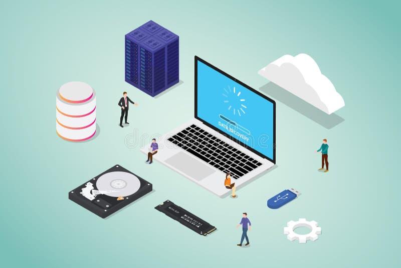 Recupero di dati dalla base di dati di server del cattivo settore con alcuni hardware e strumenti con la gente del gruppo e dallo illustrazione di stock