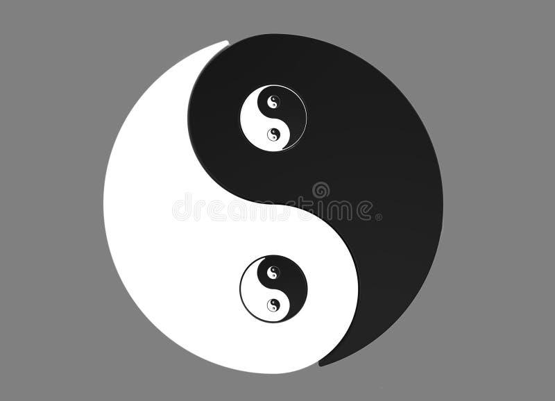 Recursive Yin Yang symbol. Recursive 2D Yin Yang asian symbol isolated on grey background stock illustration