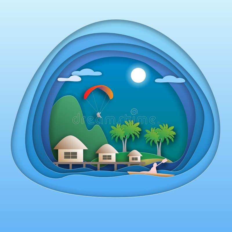 Recurso com bungalows, ilha com palmeiras, montanha do mar, paraglider, remador do caiaque Ilustração do cartão do turista no est ilustração do vetor