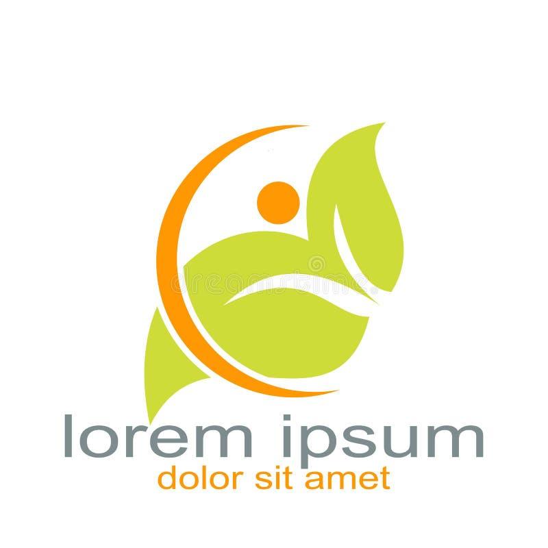 Recurso creativo del gráfico del logotipo de la gente de la hoja del diseño stock de ilustración