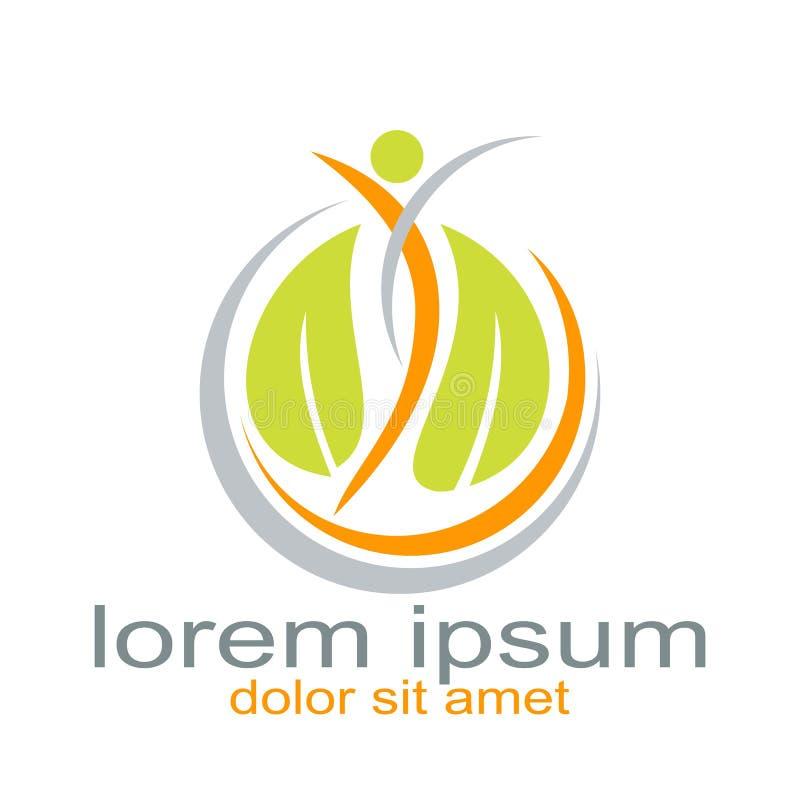 Recurso creativo del gráfico del logotipo de la hoja de la gente del diseño stock de ilustración