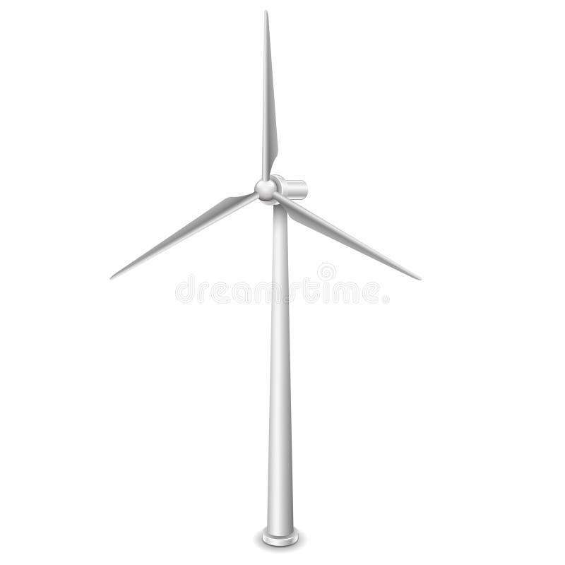 Recurso de energia alternativa das turbinas eólicas isolado no vetor branco ilustração do vetor