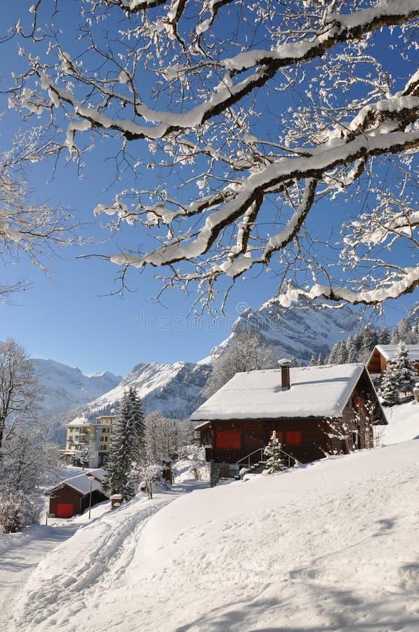 Recurso de esqui suíço famoso Braunwald imagens de stock