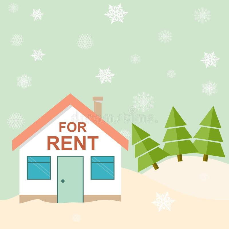Recurso do inverno Casa para o aluguel nas montanhas Illustrat do vetor ilustração do vetor