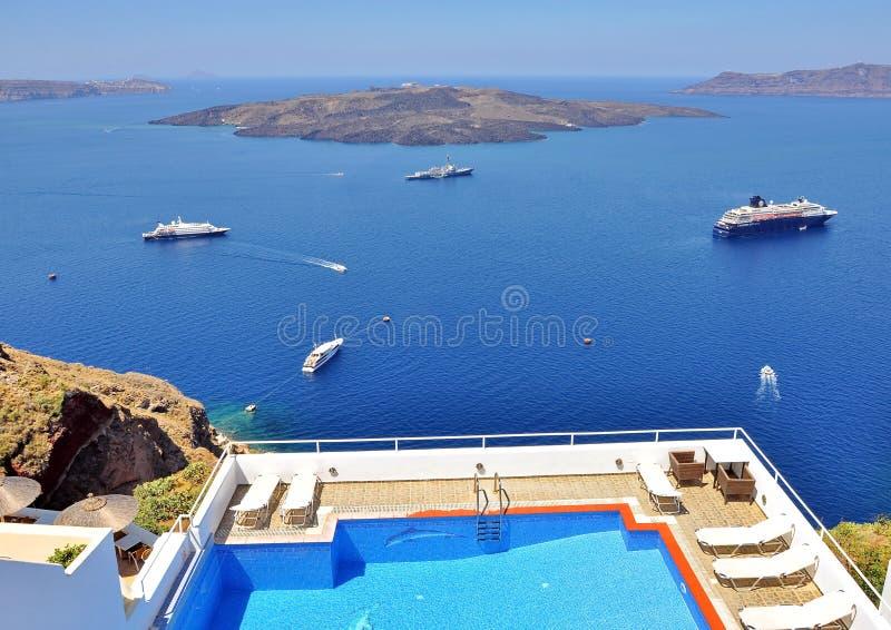 Recurso em Santorini foto de stock