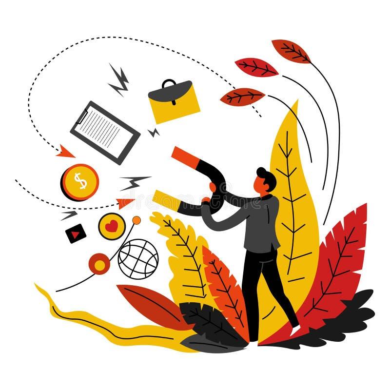 Recursos abstractos de comercialización de los medios de comunicación del concepto y red global ilustración del vector