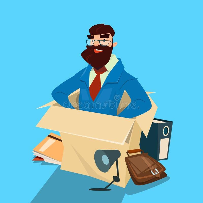 Recursos de Sit In Box Businessman Human do homem de negócio dos desenhos animados ilustração royalty free