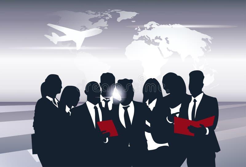 Recursos de Team Silhouette Businesspeople Group Human do negócio sobre o conceito do voo da viagem do mapa do mundo ilustração royalty free