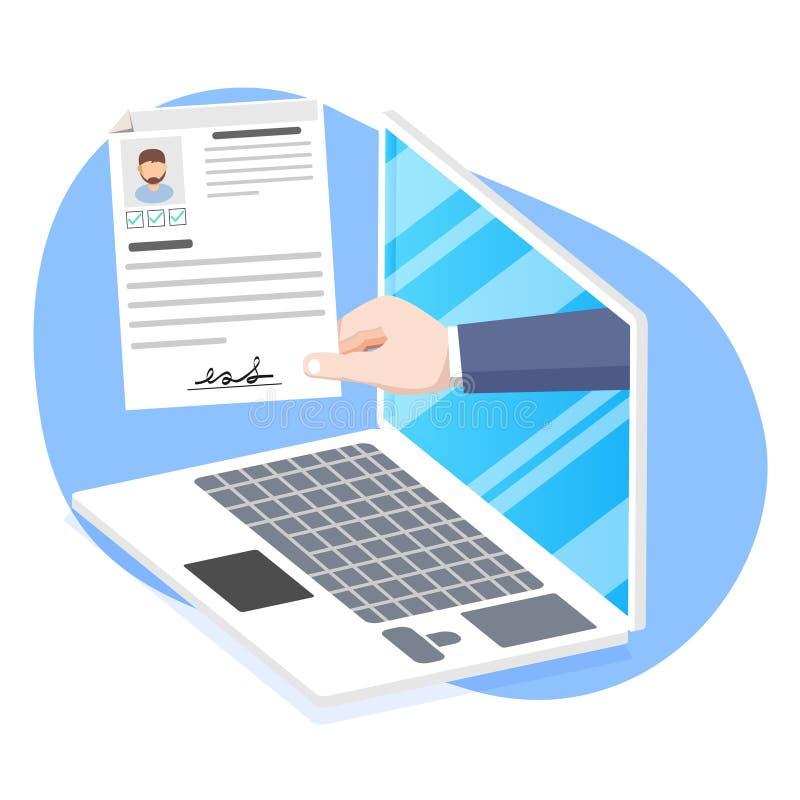 Recursos humanos, aplicação de emprego on-line ilustração stock