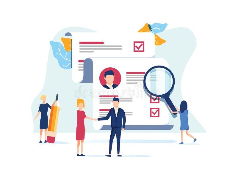 Recursos humanos, conceito do recrutamento para o página da web, meio social Os povos da ilustração do vetor selecionam um resumo ilustração stock