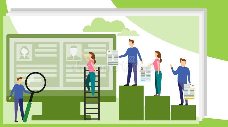Recursos humanos do conceito, recrutamento para o página da web, bandeira, apresentação, meio social, documentos, cartões, cartaz ilustração stock