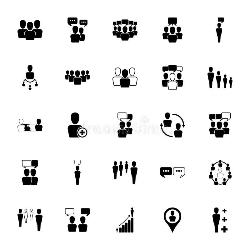 Recursos humanos e ícones da gestão ajustados ilustração do vetor