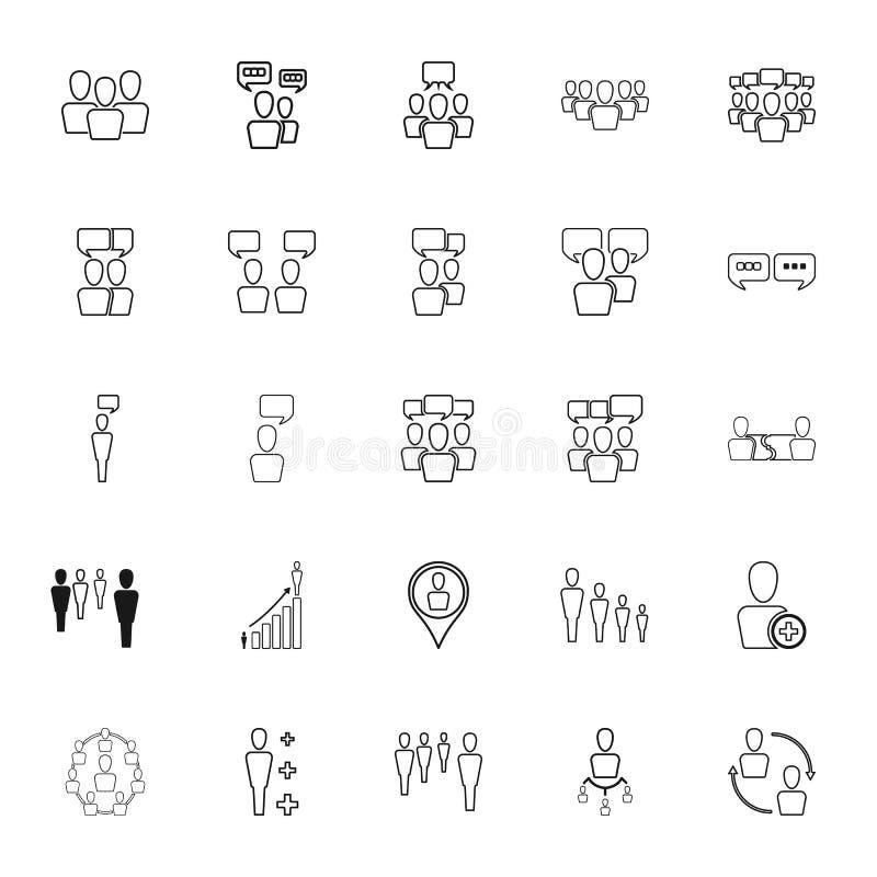 Recursos humanos e ícones do contorno da gestão ajustados ilustração stock