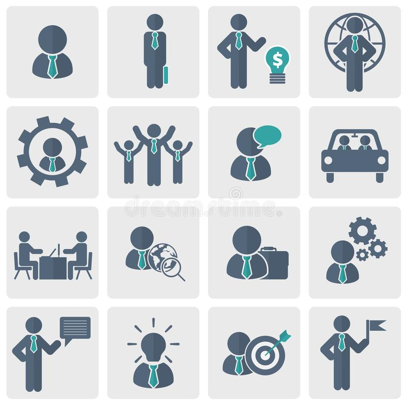 Recursos humanos e grupo do ícone da gestão Ilustração lisa do vetor ilustração stock