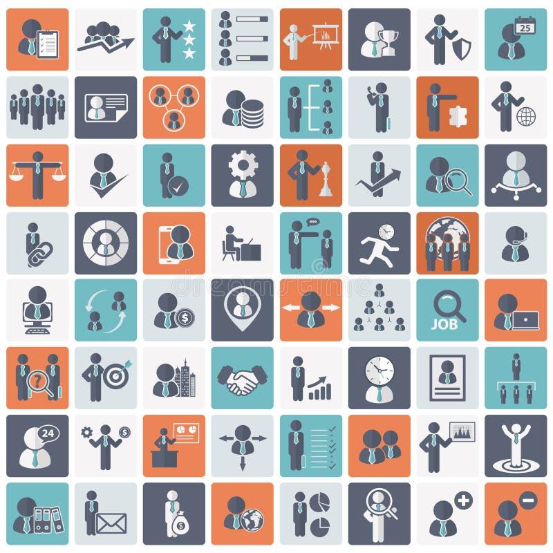 Recursos humanos e grupo do ícone da gestão Ilustração lisa do vetor ilustração do vetor