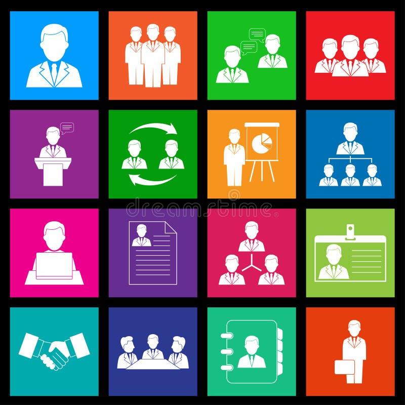Recursos humanos e iconos de la gestión. Estilo del metro ilustración del vector
