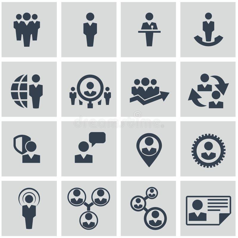 Recursos humanos e iconos de la gestión fijados. stock de ilustración