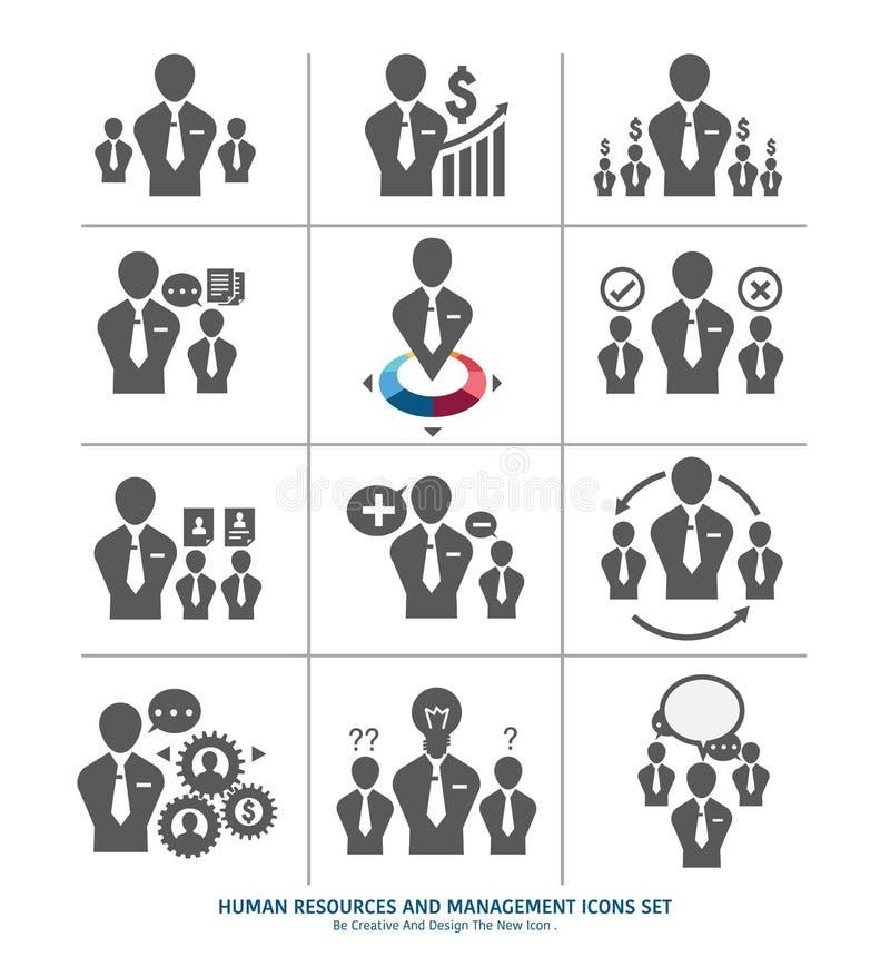Recursos humanos e iconos de la gestión fijados libre illustration