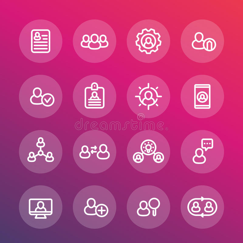 Recursos humanos e linha ícones da gestão ajustados ilustração stock