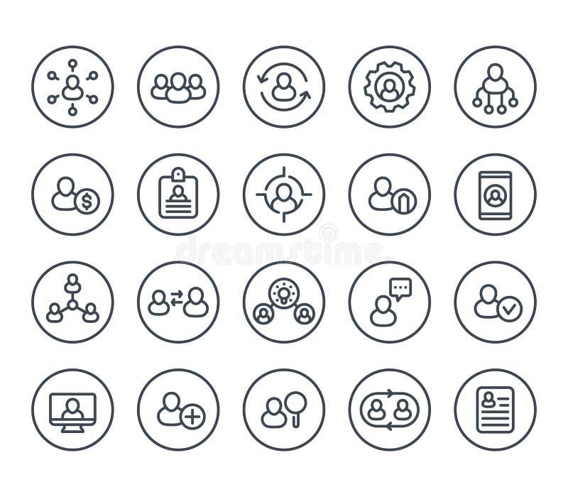 Recursos humanos, linha ícones da gestão do pessoal ilustração do vetor