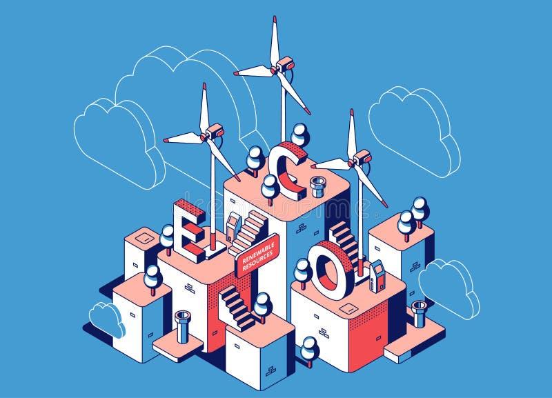 Recursos renováveis, ambiente da central elétrica do eco ilustração do vetor