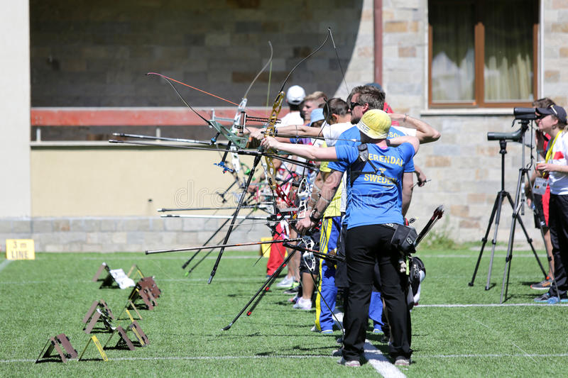 Recurve bow archery competition. Sofia, Bulgaria - April 16, 2016: People are shooting with recurve bows during an archery competition royalty free stock photos