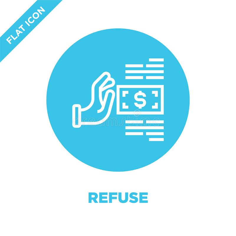recuse o vetor do ícone da coleção dos elementos da corrupção Linha fina ilustração do vetor do ícone do esboço da recusa Símbolo ilustração royalty free