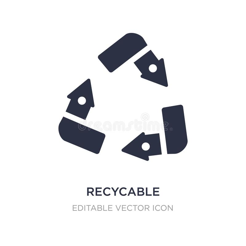 recycable εικονίδιο στο άσπρο υπόβαθρο Απλή απεικόνιση στοιχείων από την έννοια UI διανυσματική απεικόνιση
