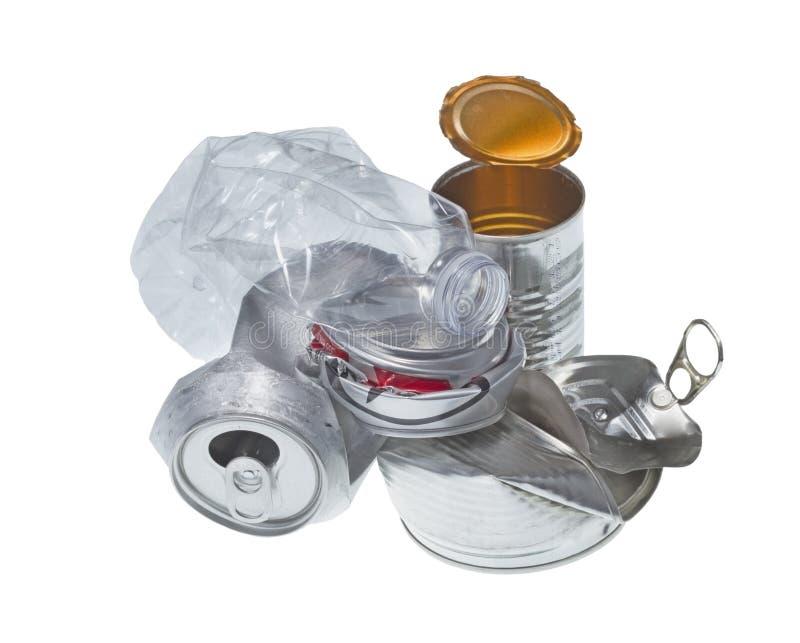 Recyclable śmieci odizolowywający na białym tle obraz royalty free