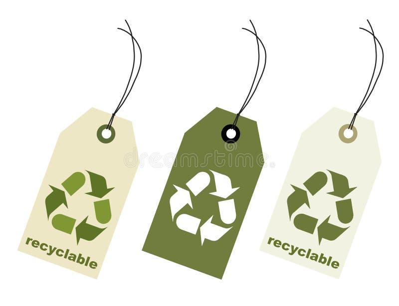 Recyclable cante o Tag com trajeto de grampeamento ilustração do vetor